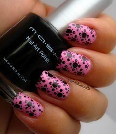 Black & pink polka dot nails