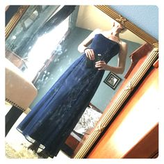 Scott McClintock size 4 blue formal gown Blue and black shimmery fabric with stone detail straps, great condition could be a fun New Year's Eve dress! Scott McClintock Dresses Maxi