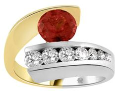 1.60 Carat Garnet & Graduating Diamond Two-Tone Gold Ring garnet jewelry