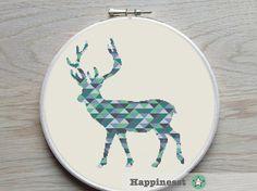 cross stitch pattern deer blocks pattern modern by Happinesst