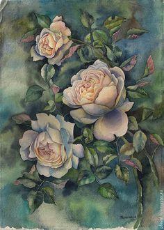 Купить Картина акварелью Нежные розы - роза, картина с цветами, картина в подарок, подарок, акварель