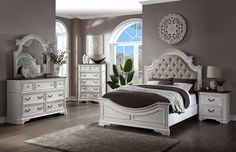"""Acme 28720Q-4PC 4 pc Astoria grand Florian antique white finish wood beige faux leather queen bedroom set. This set includes the Queen bed set, one nightstand, Dresser, Mirror. Queen bed measures 88"""" x 67"""" x 70"""" H. Nightstand measures 28"""" x 17"""" x 28"""" H. Dresser measures 64"""" x 19"""" x 40"""" H. Mirror measures 46"""" x 43"""" H. , Chest available separately at additional cost and measures 38"""" x 19"""" x 54"""" H. Some assembly may be... Acme Furniture, Out Of Style, Home Decor Outlet, Traditional House, Design Elements, How To Memorize Things, Home And Garden, Silhouette, Touch"""