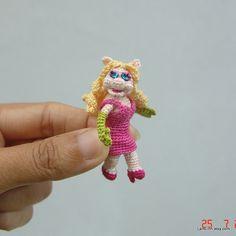 2 Zoll Gehäkeltes Schwein Muppet-Puppe - kleine Amigurumi Miniatur muppet