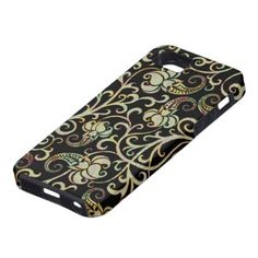 Retro Floral Swirls Silver Tones-Black Background Iphone 5 Cover