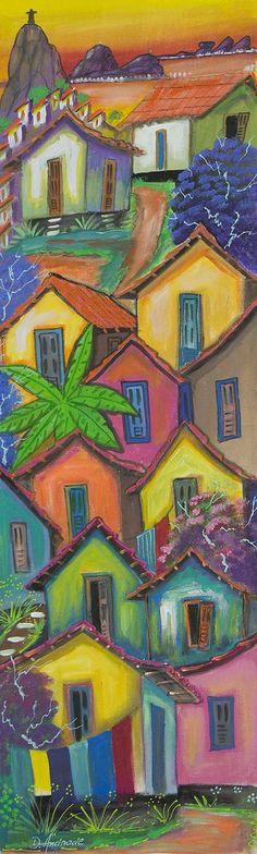 Brazil Original Expressionist Favela Painting - Colorful Houses   NOVICA