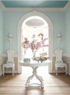 Blue walls, two tone. wood floor- Dining room inspiration. I'd have to lose the white, it's too girly.
