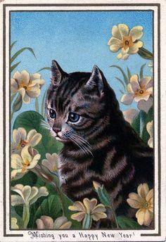 vintage Happy New Year postcard cat
