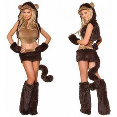Sexy Halloween Women's Brown Naughty Monkey Costume