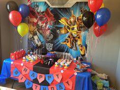 Transformers Birthday Parties, 6th Birthday Parties, Birthday Party Decorations, 4th Birthday, Birthday Ideas, Ideas Decoracion Cumpleaños, Rescue Bots Birthday, Transformer Birthday, Transformers 5