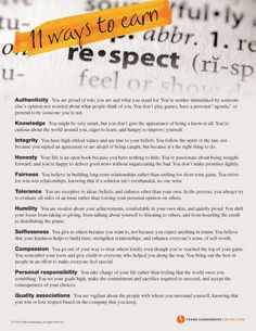 11 Ways to Earn Respect | Values to Live By | www.FrankSonnenbergOnline.com