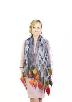 Feutré foulard écharpe feutre wrap soie laine par KateRamseyFelt