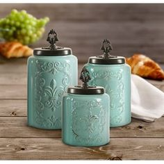 Harpersville 3 Piece Storage Jar Set | Joss & Main Farmhouse Kitchen Canisters, Kitchen Canister Sets, Kitchen Utensils, Turquoise Kitchen Decor, Aqua Kitchen, Country Chic Decor, Living Room Orange, Vintage Canisters, Rustic Italian