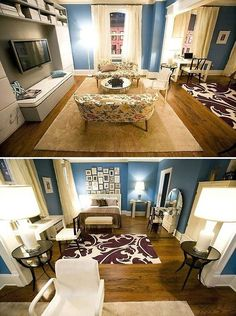 Sex & City's Carrie Bradshaw's Apartment!  I love the colors, layout, and lighting
