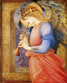 Edward Burne-Jones - An angel playing a flageolet, date?Burne-Jones was a member of the Pre-Raphaelite Brotherwood. Edward Burne Jones, Some Beautiful Images, I Believe In Angels, Doreen Virtue, Angels Among Us, Pre Raphaelite, Guardian Angels, Angel Art, Christmas Angels