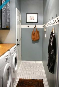 Utility room idea - A long door width utility room with work top and cupboards on one side and hooks on the other. Wide enough for easy access through.
