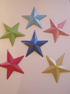 Bright Colored Painted Metal Stars Decorations