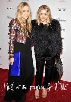 Mary-Kate and Ashley Olsen at the premiere for NINE. #style #fashion #hairinspiration #beauty #olsentwins