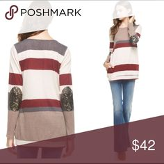 •sequin elbow patch pullover• Pullover features sequin elbow patches.  Striped pattern with maroons, grays and taupe. Small  bust measures 34 inches, medium 36, large 38. Length about 28 inches.  ❌ORICE FIRM UNLESS BUNDLED❌ Tops Tunics