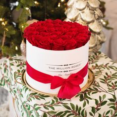 From all of us at The Million Roses US, we hope you and your family have a safe and happy holiday! Million Roses, Preserved Roses, White Box, The Millions, Metallic Colors, Classic Collection, Happy Holidays, Red Roses, Table Decorations