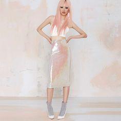 HDY Haoduoyi Women Summer Fashion Retro High Waist Skirt Sequined Pencil Bodycon Skirts