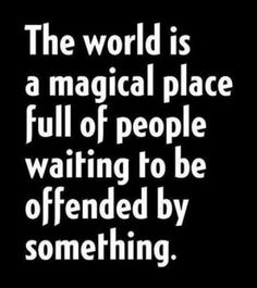 The world is a magical place full of people waiting to be offended by something.