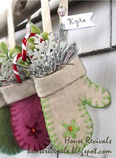 Sweet mitten ornaments.  Made from recycled felted wool sweaters.