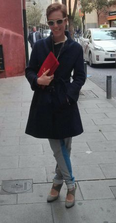 CLAUDINE's designer Laura Pons out for a walk with her red velvet CLAUDINE handbag clutch!
