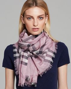 Loving this pink Burberry scarf