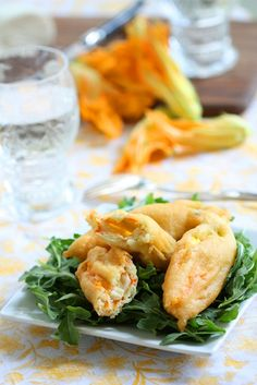 A delicious way to serve up Zucchini Flowers: Fiori di Zucca Fritti Recipe via The Tasteful Life.