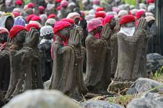 Hundreds of unique jizo statues line the trail to the Killing Stone, Sesshoseki, with enlarged hands pressed together in prayer. Nasu Yumoto area