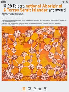 Explore mind blowing Indigenous Australian artworks by downloading the 28 NATSIAA app for iPad or Android devices