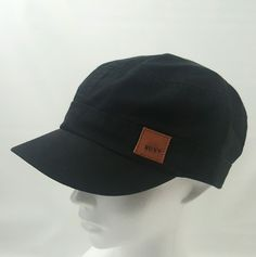 New Roxy Women's Military Cadet Castro Style Hat - Solid Black Adjustable Back #Roxy #CadetMilitary #Allyear