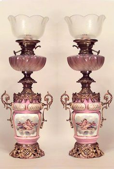 Pair Of French Victorian Pink And White Sevres Porcelain Oil Lamps With Bronze Trim And Etched Glass Shade