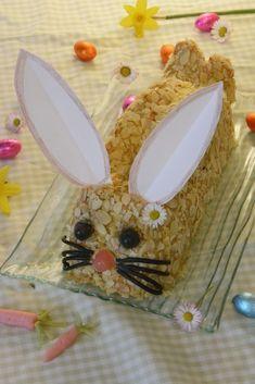 Gâteau Lapin de Pâques (Génoise vanille, crème pralinée noisette) - Au Fil du Thym