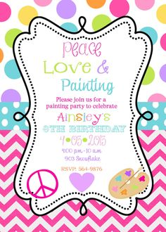 Peace Love Painting  Birthday Party Invitations, Art party printable or digital file. $10.00, via Etsy.