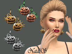 The Sims Resource: Halloween Pumpkin Earrings by NataliS • Sims 4 Downloads