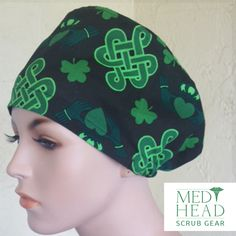 Shamrockin prints in all our scrub cap styles while supplies last! St Patrick's Day Outfit, Nursing Wear, Scrub Caps, Holidays Halloween, Fun Prints, Scrubs, Your Hair, Surgery, Cook