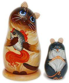 Russian Cat Matryoshka for Avery Matryoshka Doll, Kokeshi Dolls, Crazy Cat Lady, Crazy Cats, Russian Cat, Cat Decor, Cat Doll, Folk, Wooden Dolls