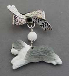 Bearded Collie Dog Silver Ribbon Pin - Handmade and one of a kind at For Love of a Dog