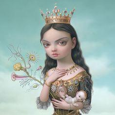 """Regina Gloriae Naturae,"" based on Mark Ryden's painting ""The Creatrix,"" (limited edition print). Mark Ryden, No Ordinary Girl, Eyes Artwork, Lowbrow Art, Fantasy Illustration, Science Fiction, Illustrations, Fantastic Art, Surreal Art"