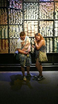 So I walked around the corner in the Harry Potter Studio tour to find a group of people applauding. :) This guy proposed to his girlfriend by arranging to have a wand box with a ring on it stashed in Olivander's shelves! ADORABLE! #Nerdgirldream