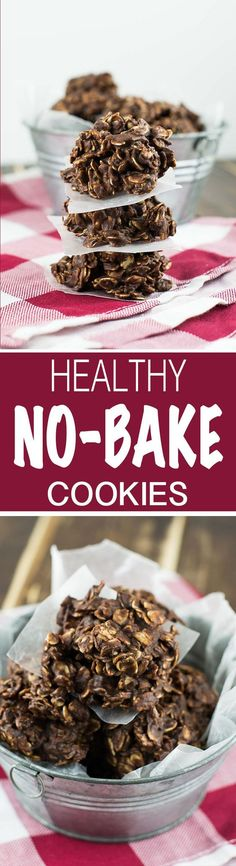 A recipe for healthy chocolate peanutbutter no bake cookies made using maple syrup, cacao powder, coconut oil, and other healthy ingredients.