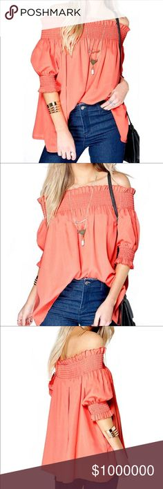 💥BRAND NEW💥SEXY RUFFLED COLD SHOULDER TOP🔶🔶 🔶🔶SEXY COLD SHOULDER RUFFLED TOP IN A BEAUTIFUL HUE OF CORAL!! 🔶🔶 3/4 SLEEVE. THE MATERIAL IS POLYESTER. Tops Blouses