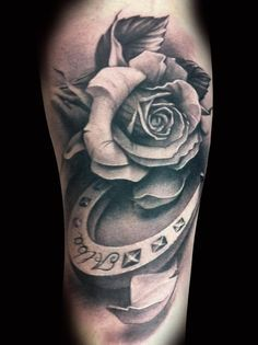 tattoo more cowboy tattoo ideas horse shoe tattoos horse shoe tattoo . Black And White Rose Tattoo, White Rose Tattoos, Black Tattoos, Body Art Tattoos, Sleeve Tattoos, Black White, Vintage Blume Tattoo, Vintage Flower Tattoo, Flower Tattoo Arm