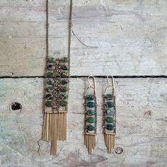 Snakeskin jasper set #demimondejewelry #springgreen (at Demimonde Shop)