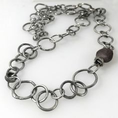 Oxidised Sterling silver handmade chain necklace with raw ruby feature £160.00