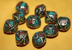 Nepalese Tibetan turquoise beads coral Beads 10 by goldenlines