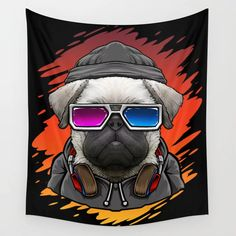 Buy DJ Pug Dog Music Wall Tapestry by allthingstore. Worldwide shipping available at Society6.com. Just one of millions of high quality products available.