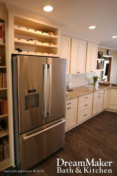 Placing a wine rack above the refrigerator is a great idea when trying to figure out what you will do with that extra little space. Fridge Decor, Kitchen Cabinets, Kitchen Cabinet Wine Rack, Kitchen Remodel, Kitchen Decor, Kitchen, Kitchen Places, Home Kitchens, Kitchen Renovation