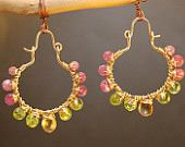 Hammered hoops with pink ruby, peridot, mandarin garnet Siren 181